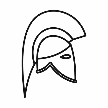 knight helmet: Knight helmet icon in outline style on a white background