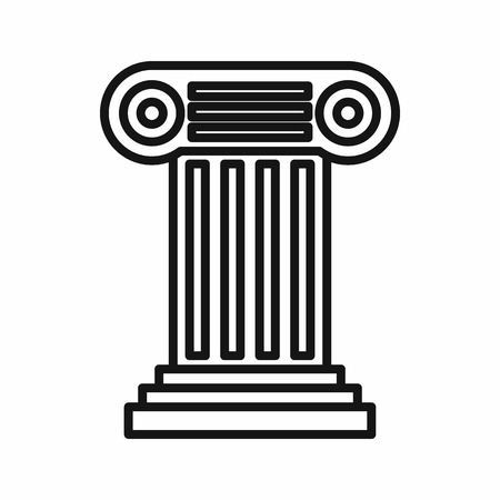 grecian: Ancient Ionic pillar icon in outline style on a white background