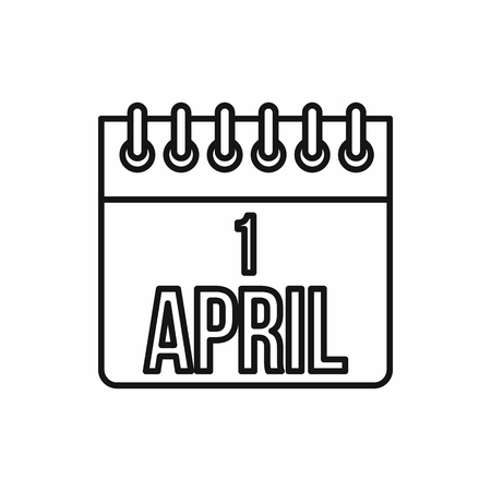 white day: April 1, April Fools Day calendar icon in outline style on a white background