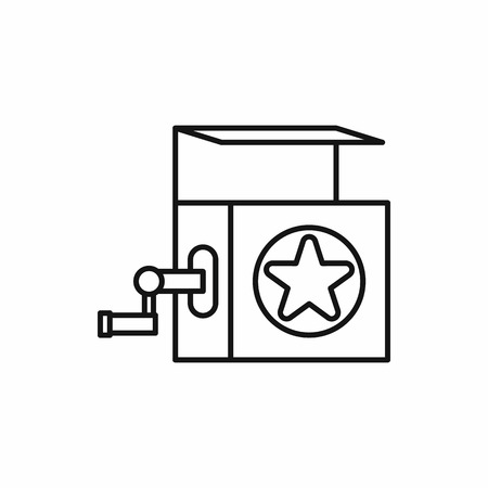 jack in a box: Jack in the box toy icon in outline style on a white background