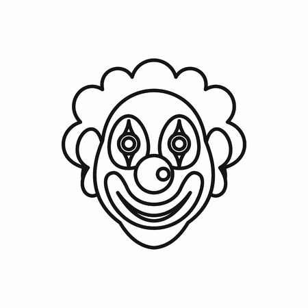 black wigs: Clown icon in outline style on a white background Illustration