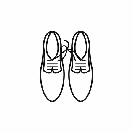 tied together: Shoes with laces tied together icon in outline style on a white background Illustration