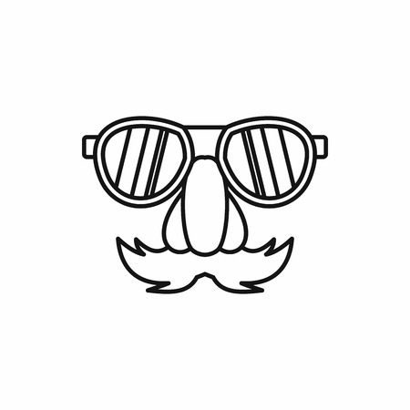 fake nose and glasses: Comedy fake nose mustache, eyebrows, glasses icon in outline style on a white background