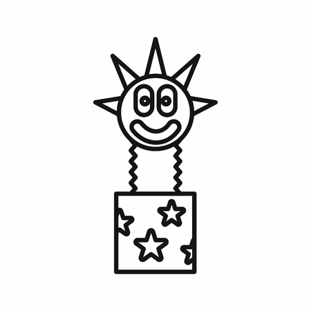 jack in the box: Clown jumping out from a box icon in outline style on a white background