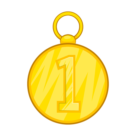 First position cold medal icon in cartoon style isolated on white background Illustration
