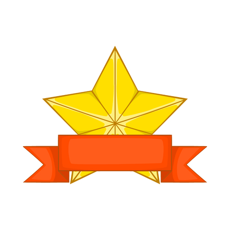 star award: Gold star award with red ribbon icon in cartoon style isolated on white background Illustration