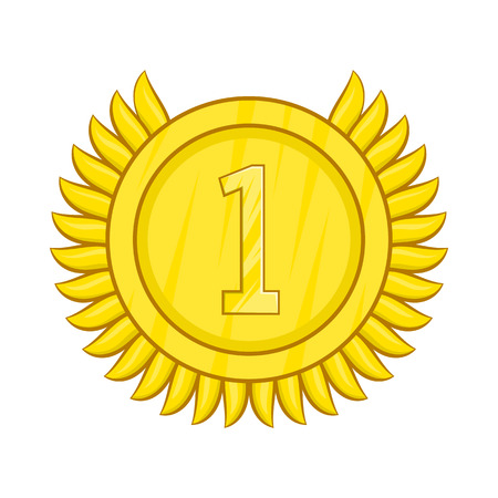 Champion gold medal icon in cartoon style isolated on white background Illustration