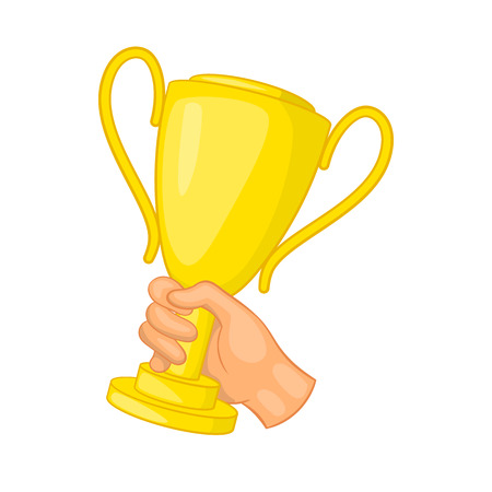 commendation: Hand holding gold trophy cup icon in cartoon style isolated on white background Illustration
