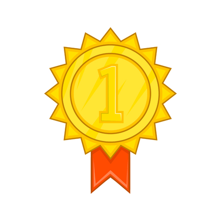 prestige: Winner gold rosette icon in cartoon style isolated on white background