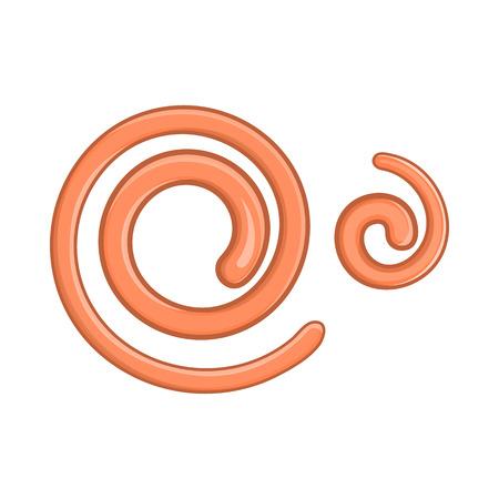 흰색 배경에 만화 스타일의 기생충 선충 웜 아이콘