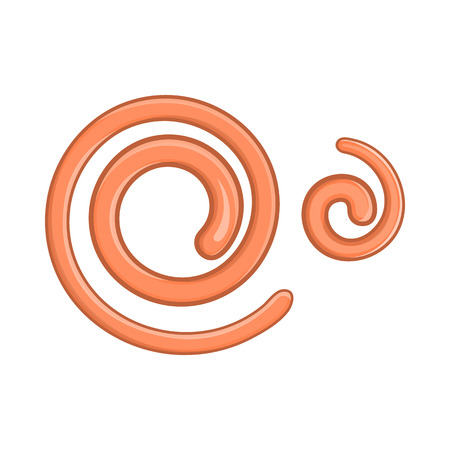 Parasitic nematode worms icon in cartoon style on a white background