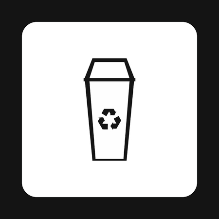 sanitation: Open trash can icon in simple style isolated on white background. Sanitation symbol Illustration