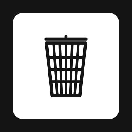 cesto basura: Icono de la cesta de la basura de forma sencilla aislado sobre fondo blanco. símbolo de saneamiento