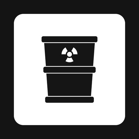 hazardous waste: Bucket for hazardous waste icon in simple style isolated on white background. Sanitation symbol