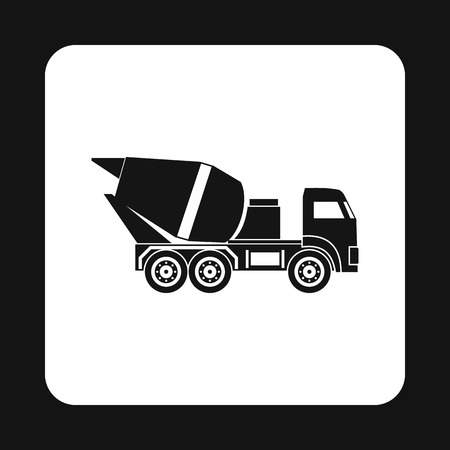 truck concrete mixer: Truck concrete mixer icon in simple style isolated on white background. Transportation symbol