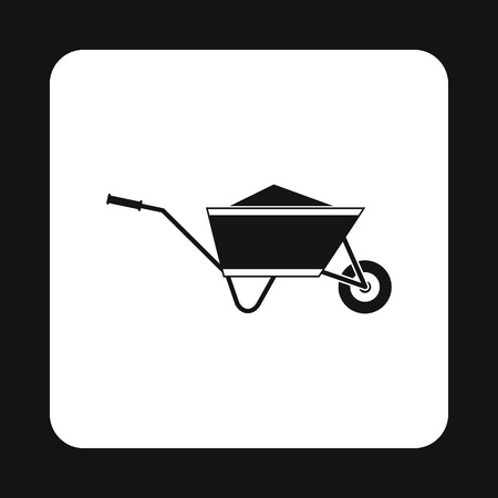 rubbish cart: Wheelbarrow with sand icon in simple style isolated on white background. Trash symbol Illustration