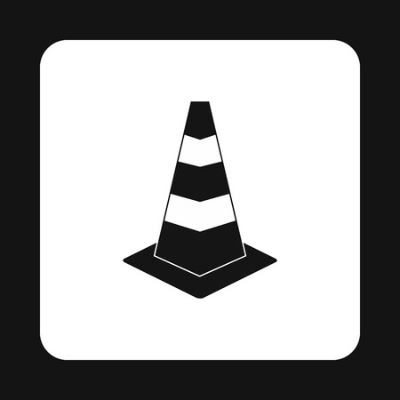 Construction cone icon in simple style isolated on white background. Warning symbol