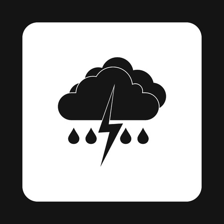 thunderstorms: Clouds and thunderstorms icon in simple style isolated on white background. Weather symbol