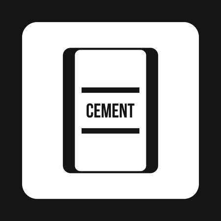 Bag of cement icon in simple style isolated on white background. Building material symbol Illustration