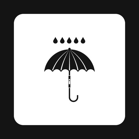 overcast: Umbrella and rain icon in simple style isolated on white background. Weather symbol