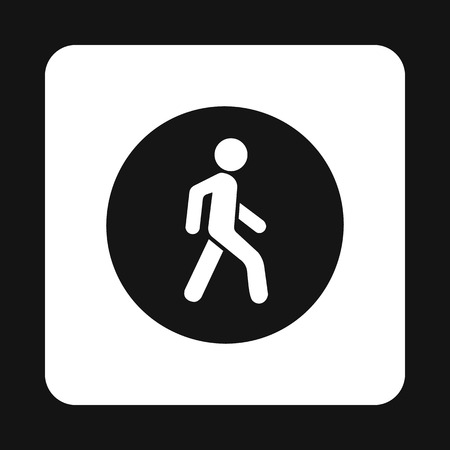 pedestrian walkway: Man on a pedestrian crossing icon in simple style isolated on white background. Rules of the road symbol