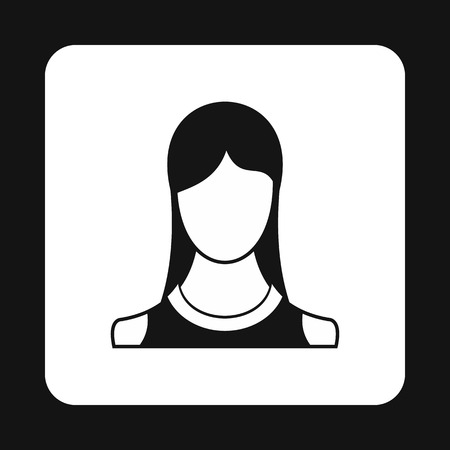 simple girl: Young girl avatar icon in simple style isolated on white background. People symbol Illustration