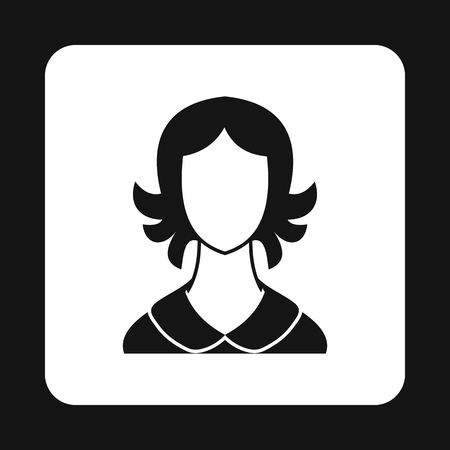 woman short hair: Woman with short hair avatar icon in simple style isolated on white background. People symbol Illustration