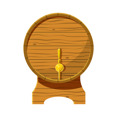 Wooden beer keg icon in cartoon style isolated on white background