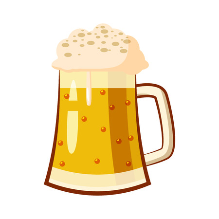 Glass mug with beer icon in cartoon style isolated on white background Illustration