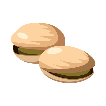 nutshell: Pistachio nuts icon in cartoon style isolated on white background