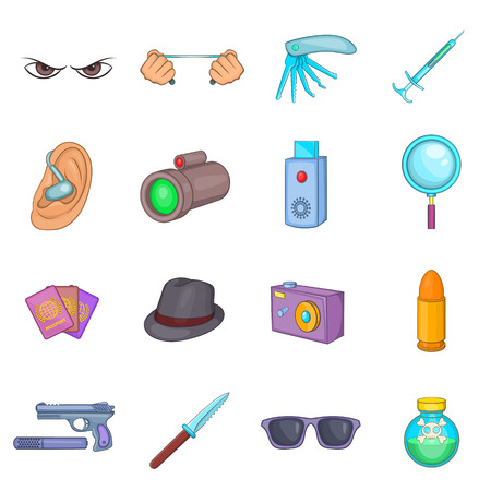 torture: Spy and security icons set in cartoon style. Detective equipment set collection vector illustration