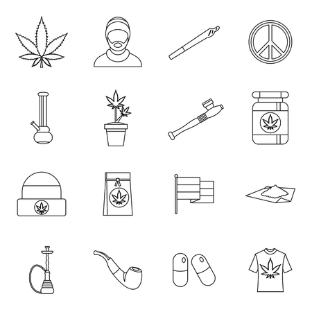 Rastafarian icons set in outline style. Marijuana equipment set collection vector illustration