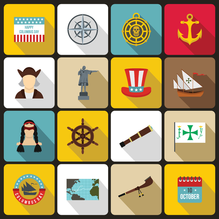 christopher columbus: Columbus Day icons set in flat style. set collection. Sailing equipment vector illustration