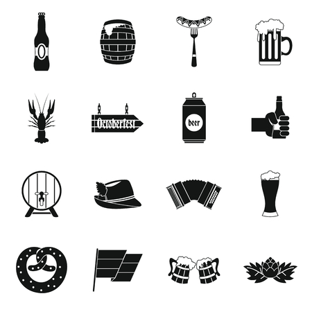 germanic: Oktoberfest icons set in simple style. set collection vector illustration