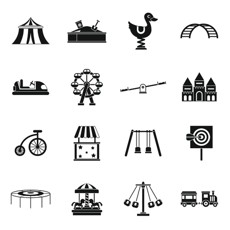 Icônes du parc d'attractions situé dans un style simple. Parc d'activité mis en collection illustration vectorielle Banque d'images - 61791366
