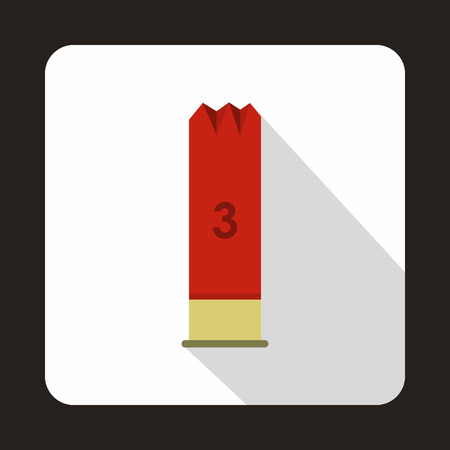 ammo: Ammo from hunting gun icon in flat style with long shadow Illustration