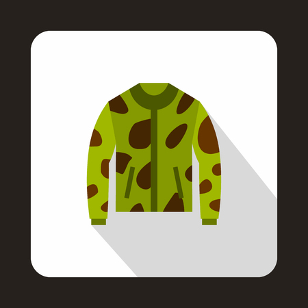 webbing: Camouflage hunting jacket icon in flat style with long shadow