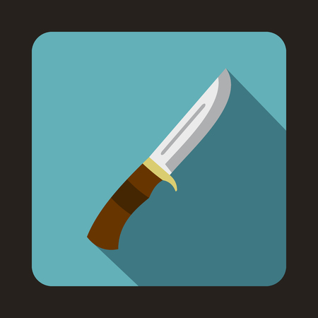 sheath: Hunting knife icon in flat style with long shadow Illustration