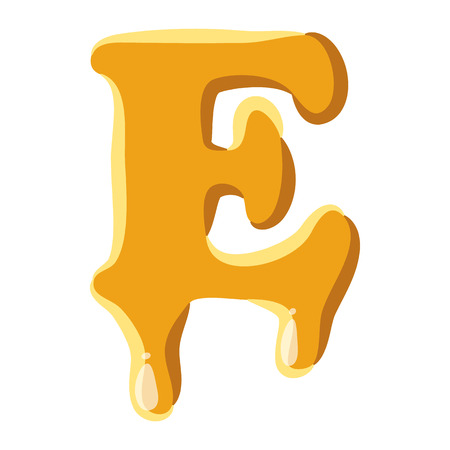 write letter: Letter E from honey icon isolated on white background. Alphabet symbol