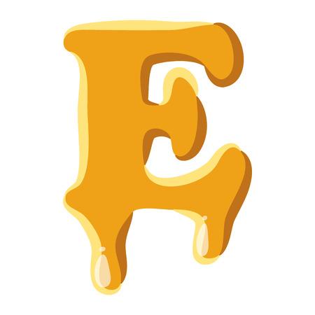 Lettre E à partir de l'icône de miel isolé sur fond blanc. symbole de l'alphabet Vecteurs