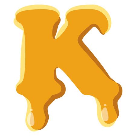 Letter K from honey icon isolated on white background. Alphabet symbol