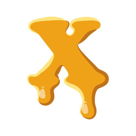 liquid x: Letter X from honey icon isolated on white background. Alphabet symbol Illustration