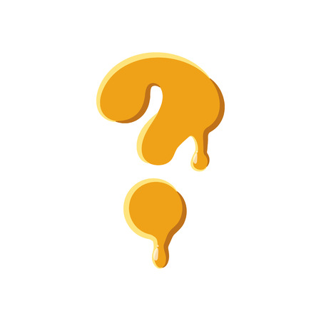 symbol  punctuation: Question mark from honey icon isolated on white background. Punctuation symbol