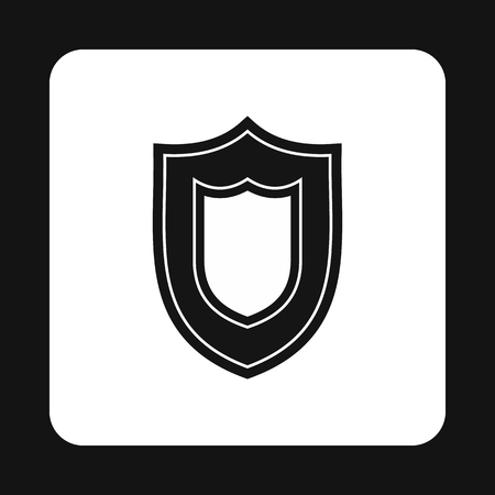 iron defense: Combat shield icon in simple style isolated on white background. War symbol