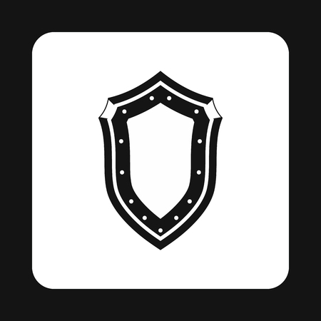combatant: Protective shield with pattern icon in simple style isolated on white background. War symbol Illustration