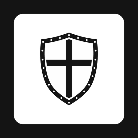 combatant: Combat shield with cross icon in simple style isolated on white background. War symbol Illustration
