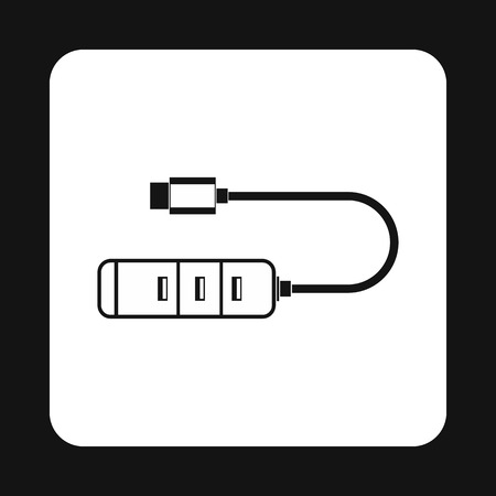 receptacle: Usb hub icon in simple style isolated on white background. Connection symbol Illustration
