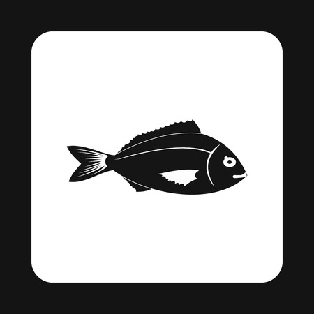 saltwater fish: Saltwater fish icon in simple style isolated on white background. Inhabitants aquatic environment symbol