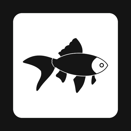 aquatic: Goldfish icon in simple style isolated on white background. Inhabitants aquatic environment symbol Illustration