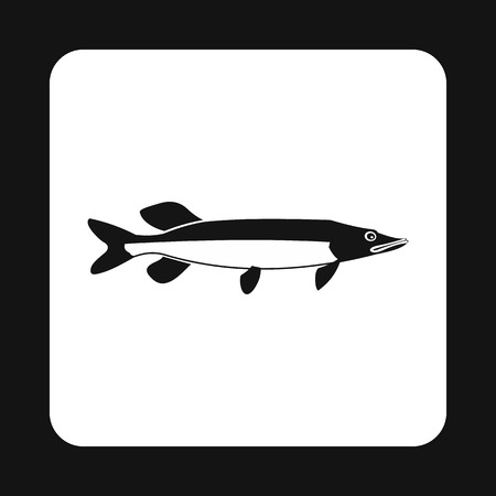 pike: Pike fish icon in simple style isolated on white background. Inhabitants aquatic environment symbol